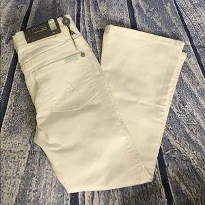NWT 7FAMK Girls White A Pocket Flare Stretch Jeans